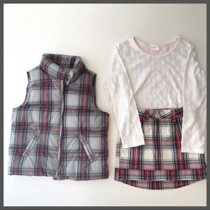Other - 3 pc puffer vest skirt and long sleeved shirt